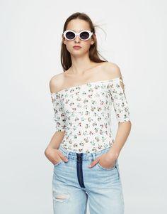 Camiseta estampado mangas corsario - Novedades - Mujer - PULL&BEAR Colombia
