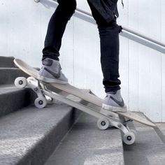 The Stair-Roverfeatures an eight-wheel mechanism that allows it to ride up curbs and descend flights of steps.