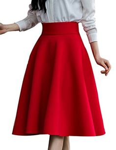 Face N Face Women's High Waist A Line Pleated Full Skater Bubble Skirt X-Large Red