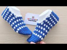How to make 1 hour knitted ladies booties socks, Diy Abschnitt, Crochet Slipper Pattern, Crochet Slippers, Booties Crochet, Bed Socks, Crochet Bebe, Baby Patterns, Knitting Socks, Fingerless Gloves, Arm Warmers