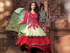 Lush Forest Green & Crimson Contrast Salwar Kameez  Item Code: V69042  $118.73