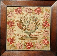 Wool on linen sampler wrought by Christian Geistinger : Lot 190