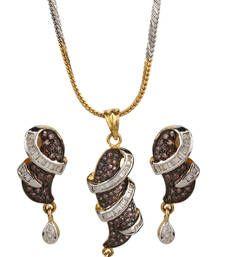 Buy PEACE Collection Tricolour Plated Purple Locket Set For Women Pendant online American Diamond Jewellery, American Jewelry, Diamond Jewelry, Bridal Jewellery Sets Online, Bridal Jewelry Sets, Pendant Set, Diamond Pendant, Pendant Earrings, Jewelry Shop