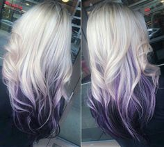 Ombre hair: the most beautiful color gradients and if we dared ombre hair? Ombre Hair Color, Hair Color Balayage, Cool Hair Color, Hair Highlights, Purple Hair, Purple Ombre, Purple Peekaboo Highlights, Blonde Hair With Purple Tips, Peekaboo Hair Colors