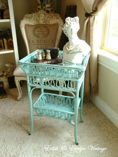 Vintage Turquoise Wicker Table Planter Victorian by edithandevelyn on Etsy