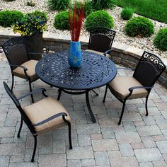 Savilla Outdoor Patio Dining Set - Seats 4 - Patio Dining Sets at Hayneedle