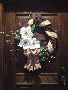 Wicker, burlap, and magnolia wreath. I made it!