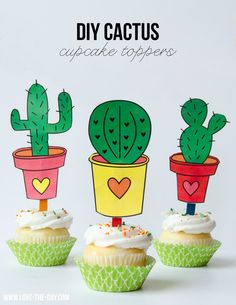 Cactus Party ~ DIY free printable cactus cupcake toppers