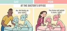 Brilliant Comics About How Moms and Dads Are Treated Differently In Public