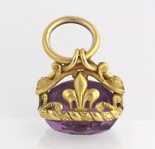Edwardian Intaglio Pendant Fob - 14k Yellow Gold Carved Purple Glass Vintage
