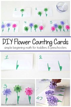 These DIY spring flower counting cards are a fun learning tool for toddlers and preschoolers. Helps children learn to count and even do beginning math skills like adding and subtracting. This Montessori inspired learning activity is perfect for spring-themed lesson plans and math centers in preschool! #preschool #toddler #preschoolmath #springlessonplans #prek #mathforkids #montessori