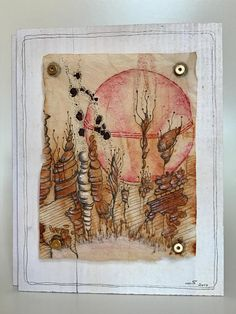 TeaDreams are Teabag-Art. I draw and glue and stich and sew on used teabags. Also I work in things I find on walks through nature or through town. I put in emotions, feelings, dreams and vibrations. In order to let the delicate paper show its special nature, the picture is mounted onto a
