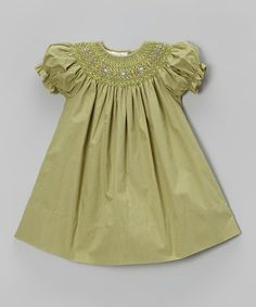 Take a look at this Green English Smocked Bishop Dress - Toddler & Girls by Rosalina on #zulily today!