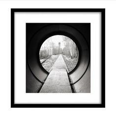 Train Tunnel Black and White Photography Railroad by JamesClancy