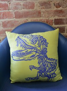 """Screen Printed  Dinosaur Pillow Cover 16x16"""" by miasunique on Etsy https://www.etsy.com/listing/117896980/screen-printed-dinosaur-pillow-cover"""
