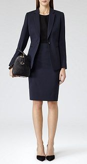 French Navy Fitted Pencil Skirt - Reiss - Topaz Skirt and Blazer - also trousers and dress Job Interview Outfits For Women, Interview Suits, School Interview, Suits For Women, Clothes For Women, Business Outfits, Business Attire, Business Casual, Vestidos