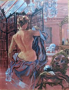 Frederick Siebel  50 s Full Page Color Illustration  print art  painting  nude woman