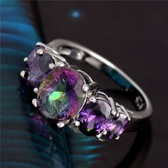 Pretty.  Multi colored Ovals CZ Stoned Ring Size 7,8,9. Starting at $3