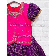 Girls Designer Dresses, Dresses Kids Girl, Baby Dresses, Kids Outfits, Saree Blouse Models, Lehenga Blouse, Kids Blouse Designs, Dress Designs, Kids Lehanga