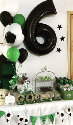 Leo's Soccer party dessert table Soccer Birthday Cakes, Sports Theme Birthday, Soccer Party, Sports Party, Dessert Table Birthday, Birthday Party Tables, Diy Birthday Decorations, Party Table Decorations, Sofia Party