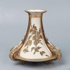 Antique Royal Worcester Porcelain Raised Gold Aesthetic Vase