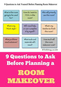 9 questions to ask before planning a room makeover. FREE PRINTABLE, too.