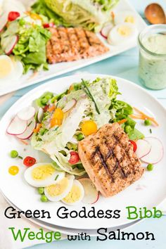 Fully Loaded Bibb Wedge with Grilled Salmon & Green Goddess Dressing