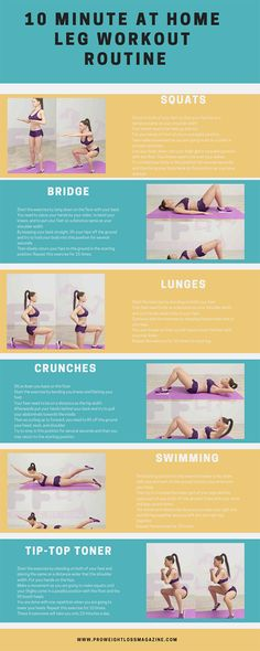 10 Minute at Home Leg Workout Routine - Workout Plan Leg Workout At Home, Best Workout Plan, Workout Plan For Women, Weight Loss Workout Plan, Workout Plans, Workout Tips, Beginner Leg Workout, Sweat Workout, Workout Challenge