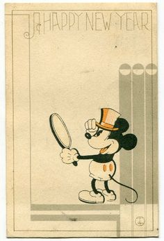 Mickey Mouse Happy New Year postcard