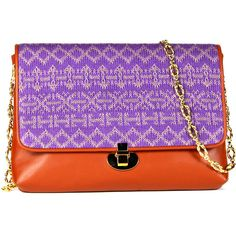 Laema Diva clutch jacquard purple and gold cognac leathe ($224) ❤ liked on Polyvore