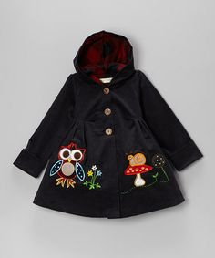Navy Owl Corduroy Hooded Coat - Toddler & Girls #zulily #zulilyfinds  $16.99 from 85.00  Darling coat!!!