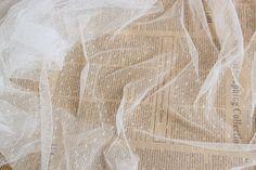 off white mesh Lace Fabrics, dots Gauze Fabric , wedding Mesh, tulle lace fabric