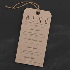 Typography Tags - Dinner Party Menu Card Show off the vintage style accented by the typography design of this card. This style menu card is Ideal for a rustic wedding or event.
