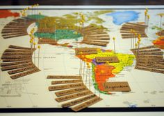World map seating chart http://reflectivebride.com