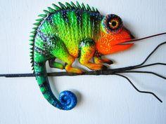 Chameleon art wall sculpture by artistJP on Etsy