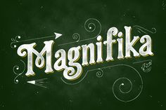 Magnifika inspired by the vintage lettering with lowercase and also a bit taste of victorian.This fonts especially for the display, but it's still good when you use for long wording.Magnifika best use for the Posters, Headlines, Logos and with vintage … Vintage Fonts, Vintage Lettering, Hand Lettering, Retro Typography, Typography Design, Script Fonts, All Fonts, Serif Font, Schrift Design
