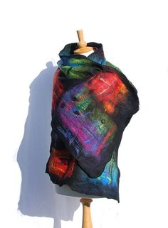 Nuno Felted scarf Felt shawl merino wool silk black green pink red purple…