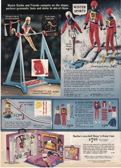 Olympic Gymnast P.J. Set, Winter Sports Barbie, Ken and P.J., Olympic Ski Village and Barbie Sleep 'n Keep Case from the Sears Christmas Catalog, 1975