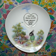 VERY RARE Scenic Plate with Shy Bunny by thestorybookrabbit, $40.00