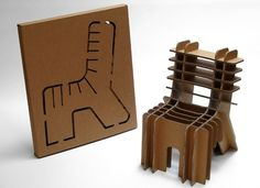 Flat-Pack furniture: eco-friendly cardboard chair designed by david graas flat-pack. pre-cut sheets of cardboard punch out forms that slot together to make Cardboard Chair, Diy Cardboard Furniture, Cardboard Box Crafts, Cardboard Design, Cardboard Playhouse, Playhouse Plans, Cardboard Paper, Paper Design, Furniture Projects