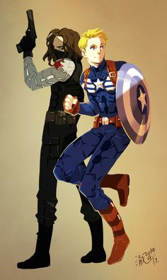 Look at these badasses. Captain America and the Winter Soldier!
