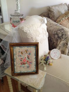 """A chair for the Bride to be. Notice the """"Panty Jar"""" for the panty game behind the chair.   Each guest is asked to bring a pair of non wrapped new panties for the bride to be."""
