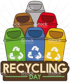 Colored Recycle Bins for Proper Trash Sorting in Recycling Day Recycling Bins, Free Vector Art, Image Now, Sorting, Day, Illustration, Poster, Color, Colour