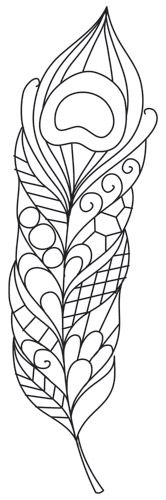 A single peacock feather, pretty and patterned. Downloads as a PDF. Use pattern transfer paper to trace design for hand-stitching.