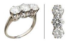 RING  Gull 18 K. Fattet med tre brillianter på tilsammen 2,8 ct. Totalvekt: 5,0 g.  Antatt kvalitet: Crystal Pique 1, Pique 1 og Pique 2 STØRRELSE 58 Engagement Rings, Jewelry, Enagement Rings, Wedding Rings, Jewlery, Jewerly, Schmuck, Jewels, Jewelery