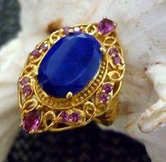 Lapis Lazuli, Rhodolite Garnet 14k YG over Sterling Silver Ring Size 6  6.610cts #Cocktail #BirthdayAnniversaryHolidayanytime