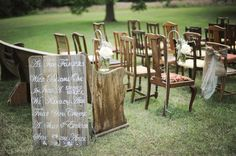Mismatched Chairs At Wedding