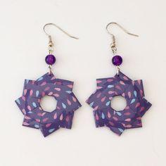 Boucles d'oreilles rosace violettes en papier origami de la boutique LatelierdIsabo sur Etsy