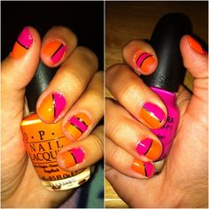 Pink and orange nail design, with gold striping tape. These are awesome.