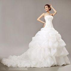 Gorgeous Mermaid Chepal Train Scoop Beading Wedding Dress : Tidebuy.com
